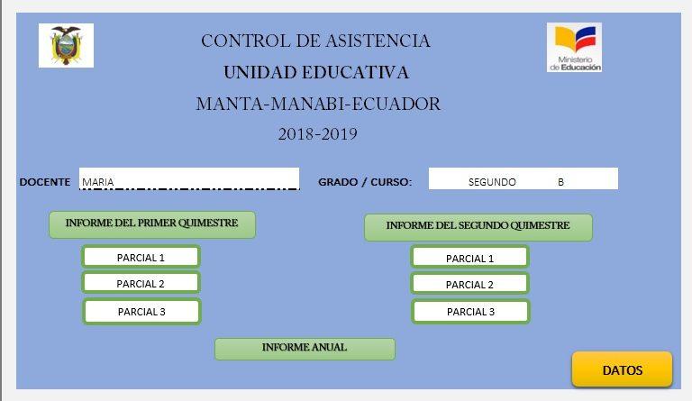Plantilla en excel control de asistencia para estudiantes