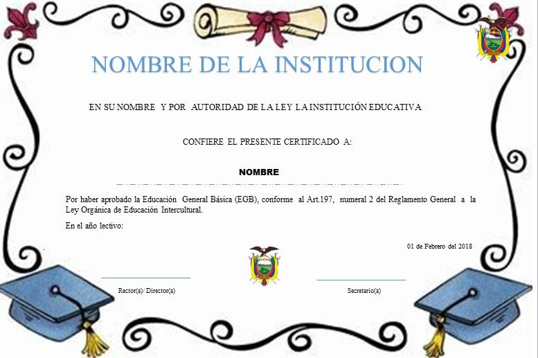 Diploma para terminación de primaria.