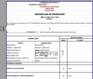 Cuadro anual de calificaciones y certificado de promoción