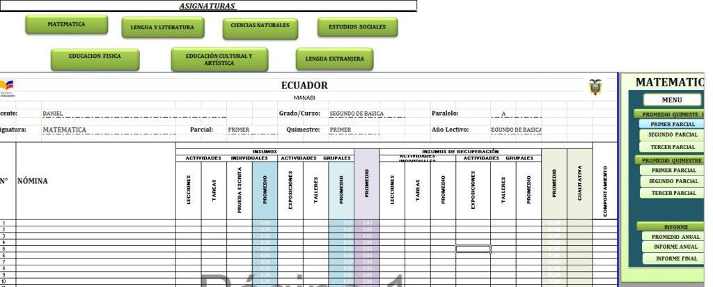 Archivo en Excel para control de calificación para escuela
