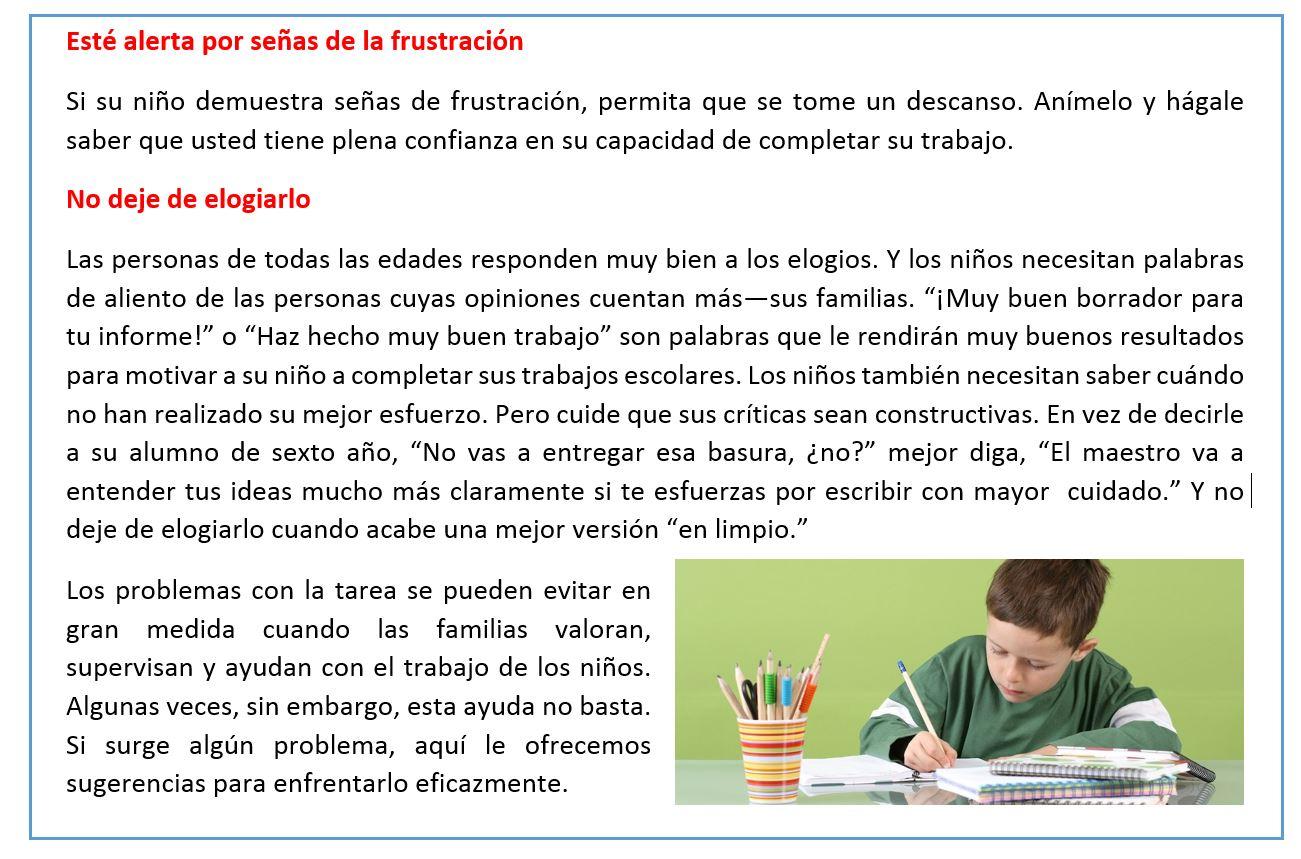 Como ayudar a mi hijo con las tareas escolares