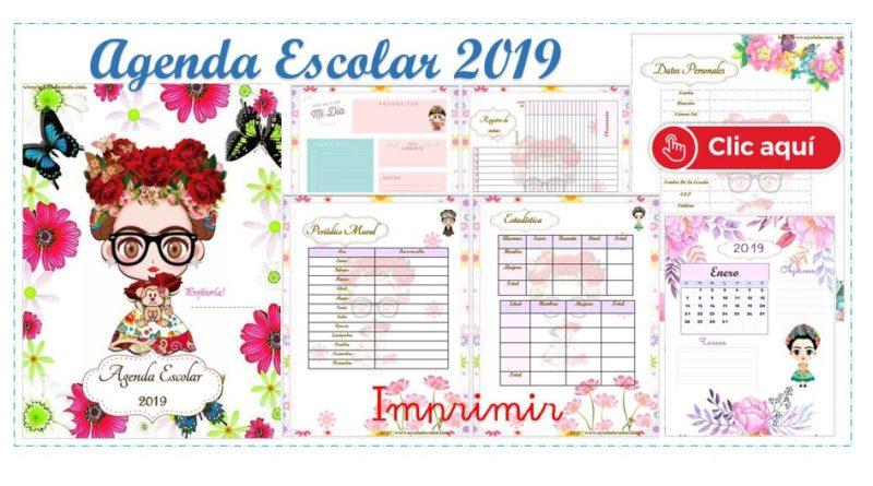 Agenda escolar 2019 ACTUALIZADA Frida Kahlo para imprimir