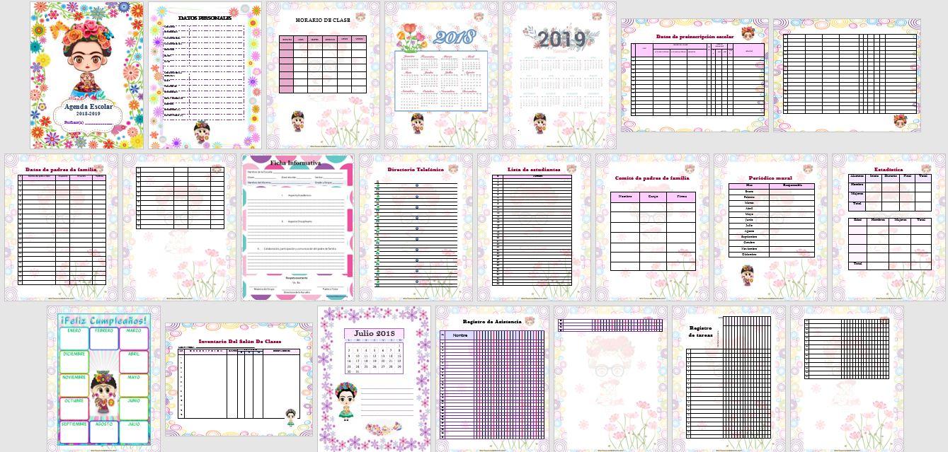 Agenda escolar 2018 Frida Kahlo para imprimir