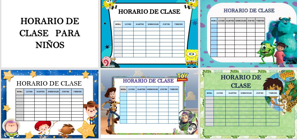 Plantillas para horario de clase en Word