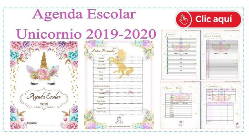 Calendario 2019 Disney Para Imprimir.Agenda Escolar 2019 Actualizada Unicornio Para Imprimir