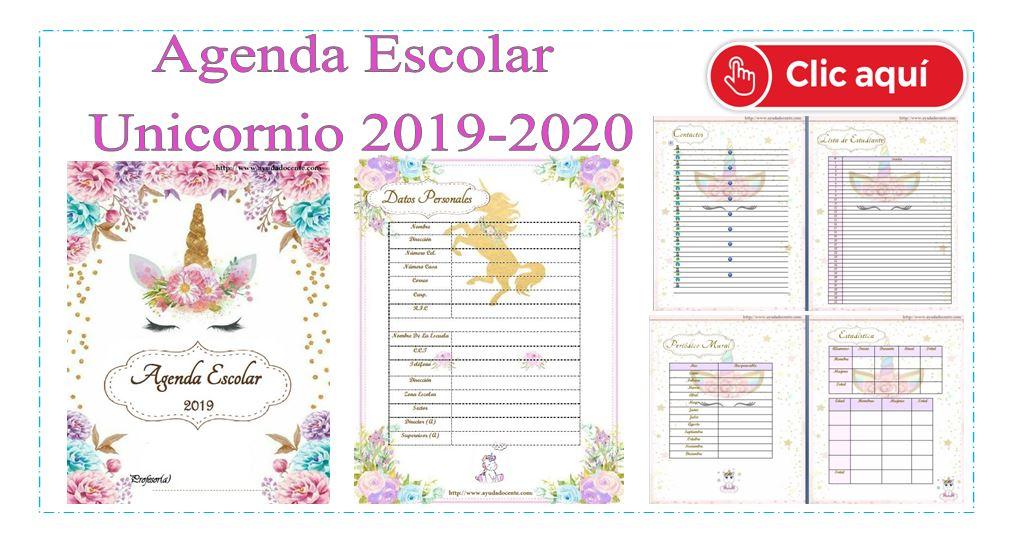 Calendario Agenda 2020 Para Imprimir.Agenda Escolar 2019 Actualizada Unicornio Para Imprimir