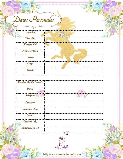 Agenda escolar 2019 ACTUALIZADA unicornio para imprimir gratis