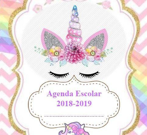 Agenda escolar 2018 de unicornio para imprimir gratis - AYUDA DOCENTE