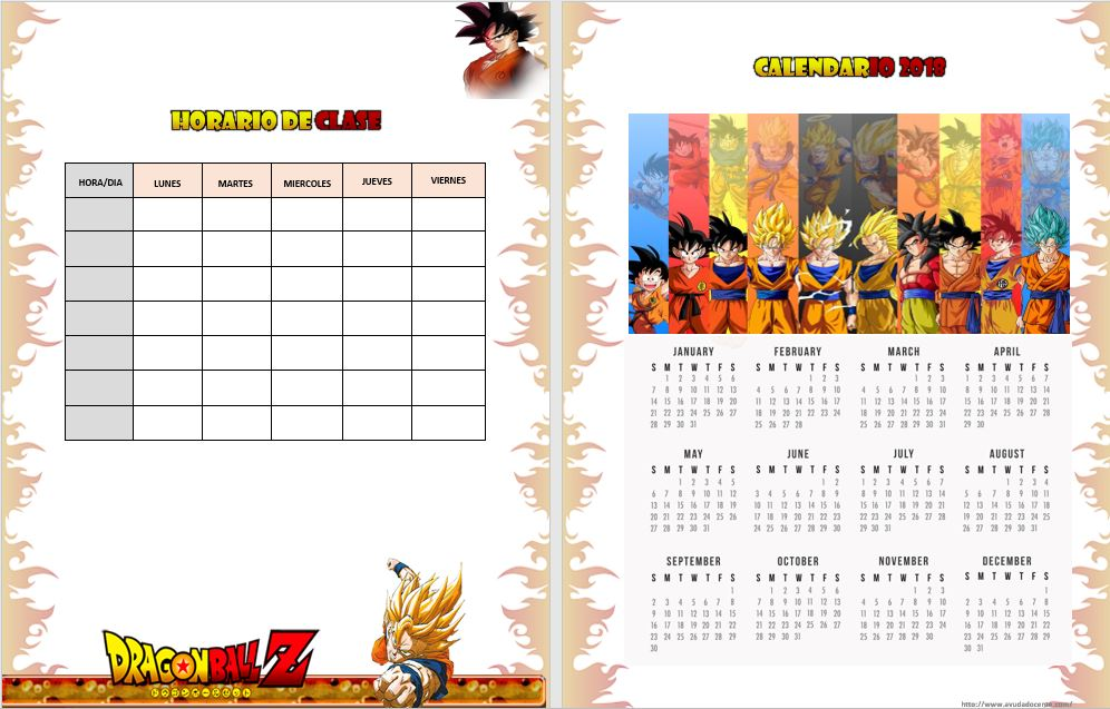 Agenda escolar 2018 Dragon Ball