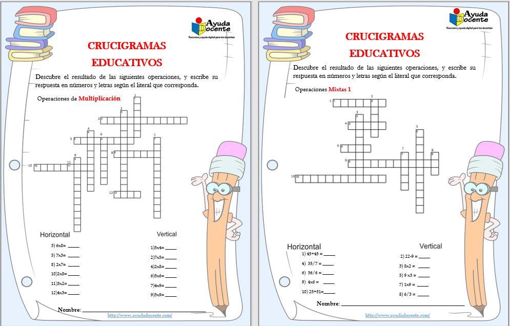 Crucigramas con operaciones matemáticas para imprimir