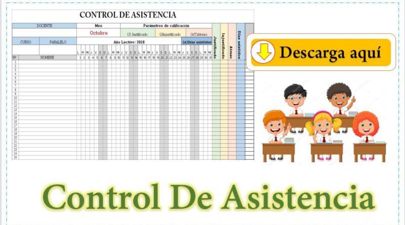 Formato de control de asistencia de alumnos editable
