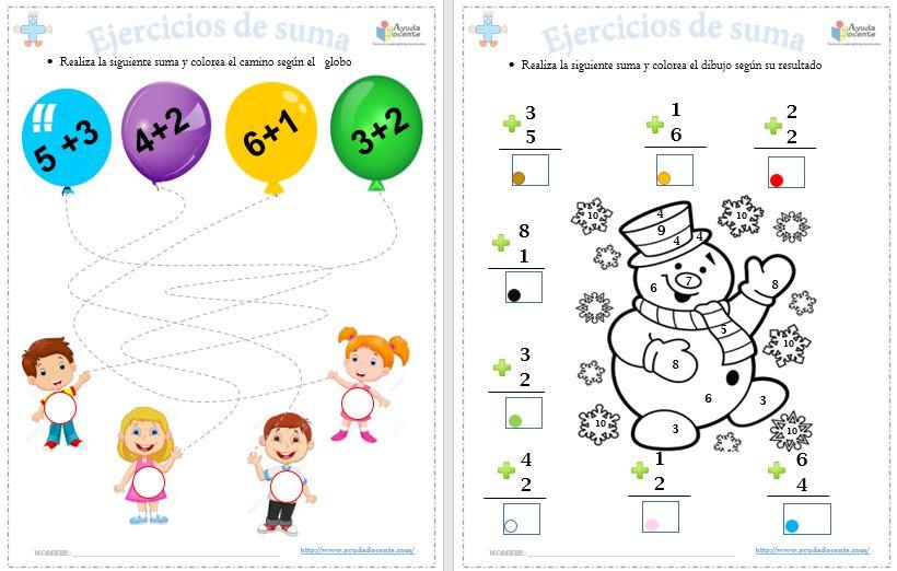 Ejercicios para enseñar a sumar para niños pdf