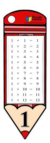 Llavero de las tablas de multiplicar para imprimir
