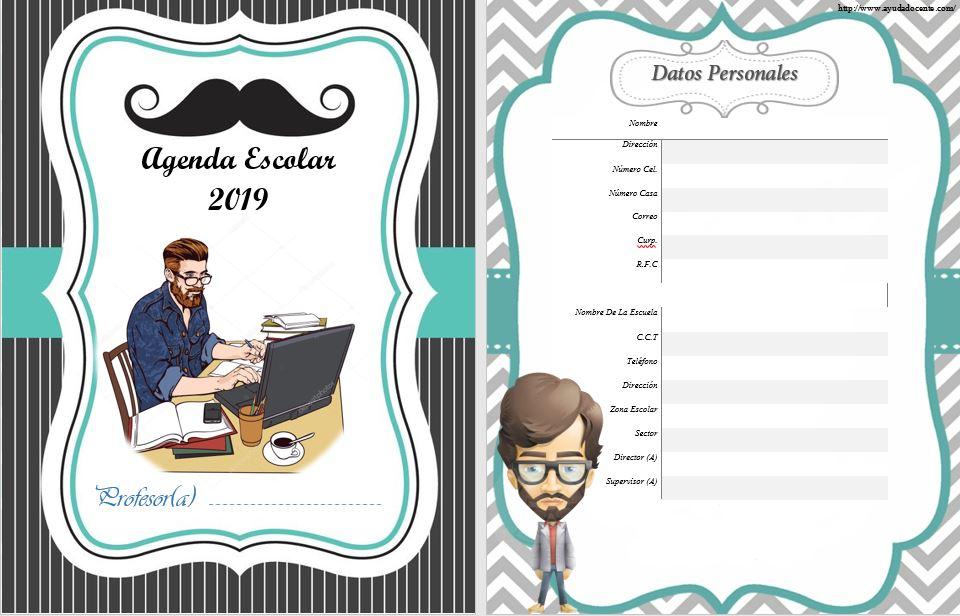 Agenda docente 2019 para hombre gratis