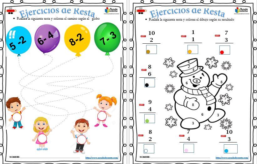 Ejercicios para enseñar la restar a niños pdf