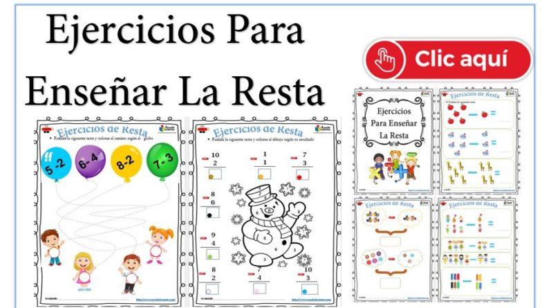 Ejercicios para enseñar a restar a niños pdf