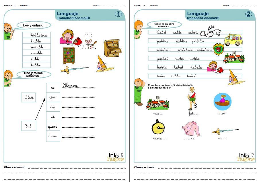 Ejercicios con silabas trabadas pdf