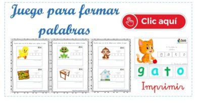 Fichas educativas para formar palabras imprimir