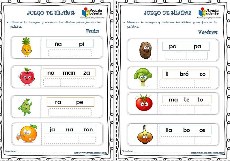 Ejercicios de formar palabras con sílabas imprimir