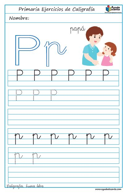 ejercicios de caligrafía con abecedario