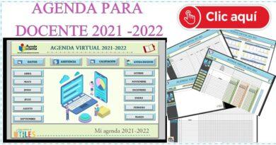 AGENDA DIGITAL  PARA  DOCENTE  2021 GRATIS