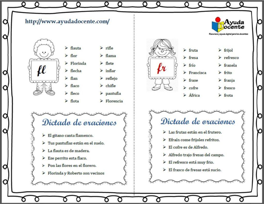 dictado oraciones sílabas trabadas o dobles